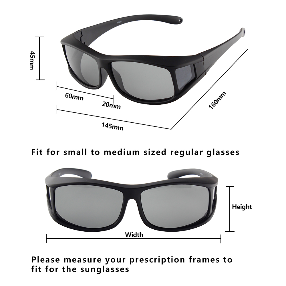 how to measure polarized fit over sun glasses size